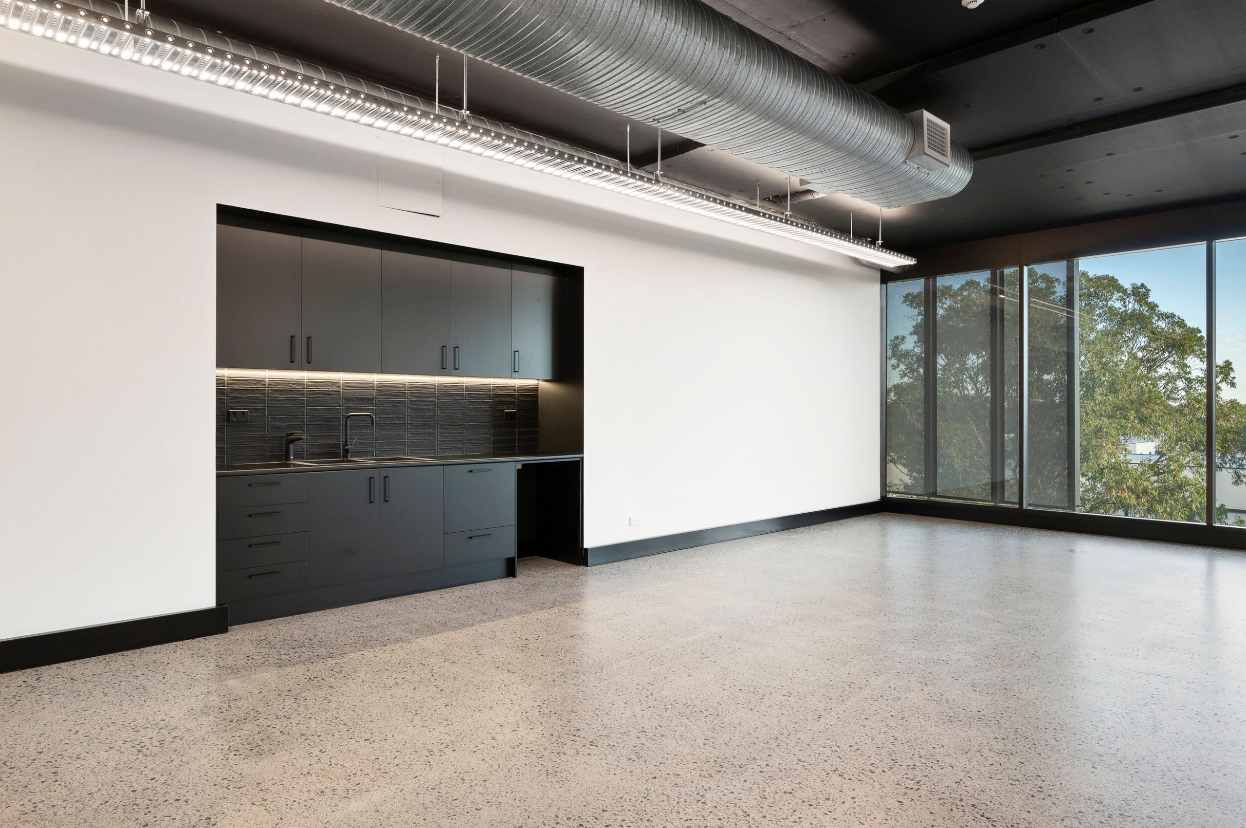 Cold shell office space with kitchenette